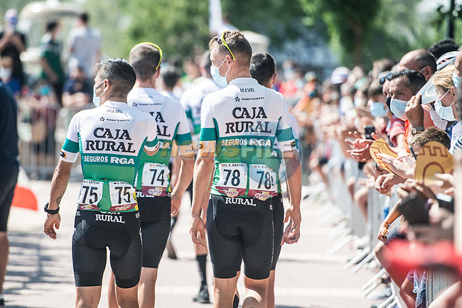 Caja Rural-Suguros RGA head for sign on before Stage 5 of La Vuelta d'Espana 2021, running 184.4km from Tarancón to Albacete, Spain. 18th August 2021.      <br /> Picture: Charly Lopez/Unipublic | Cyclefile<br /> <br /> All photos usage must carry mandatory copyright credit (© Cyclefile | Unipublic/Charly Lopez)