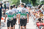 Caja Rural-Suguros RGA head for sign on before Stage 5 of La Vuelta d'Espana 2021, running 184.4km from Tarancón to Albacete, Spain. 18th August 2021.      <br /> Picture: Charly Lopez/Unipublic   Cyclefile<br /> <br /> All photos usage must carry mandatory copyright credit (© Cyclefile   Unipublic/Charly Lopez)
