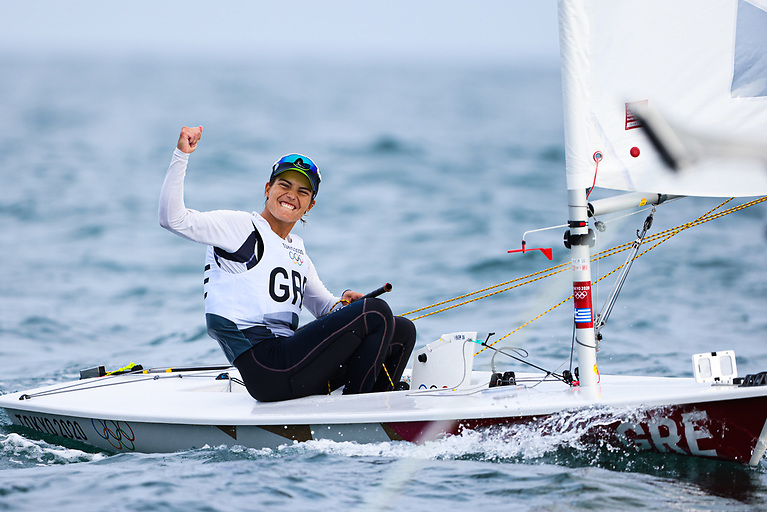 Vasileia Karachaliou of Greece celebrates her race win in race four