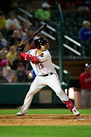 Rochester Red Wings Tres Barrera (13) bats during a game against the Worcester Red Sox on September 3, 2021 at Frontier Field in Rochester, New York.  (Mike Janes/Four Seam Images)