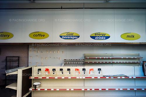 Scranton, Pennsylvania.August 2, 2012..Defunct grocery store, downtown Scranton...Photograph by Alan Chin.