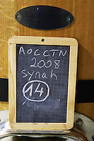 syrah sign on tank domaine giraud chateauneuf du pape rhone france