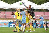 Philadelphia Independence goalkeeper Karina LeBlanc (23) punches a ball clear. Sky Blue FC defeated the Philadelphia Independence 1-0 during a Women's Professional Soccer (WPS) match at Yurcak Field in Piscataway, NJ, on August 22, 2010.