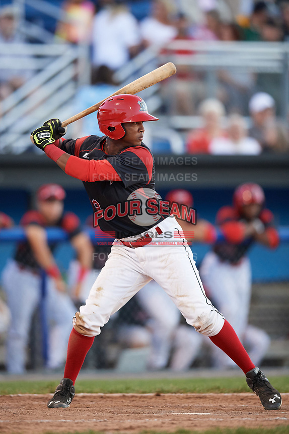 Batavia Muckdogs shortstop Marcos Rivera (8) at bat during a game against the Auburn Doubledays on June 19, 2017 at Dwyer Stadium in Batavia, New York.  Batavia defeated Auburn 8-2 in both teams opening game of the season.  (Mike Janes/Four Seam Images)