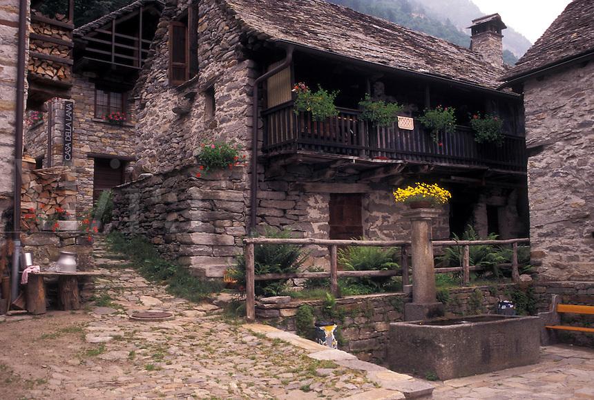 Switzerland, Ticino, Sonogno, Val Verzasca, The picturesque village of Sonogno made of stone.