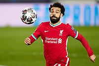 6th April 2021, Alfredo Di Stefano Stadium, Madrid, Spain; UEFA Champipons League football quarterfinl, Real Madrid versus Liverpool;  Mohamed Salah of Liverpool FC