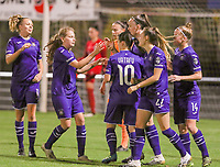Anderlecht players celebrate goal of Tine De Caigny (6 Anderlecht) (M) during a female soccer game between RSC Anderlecht Dames and AA Gent Ladies  on the seventh matchday of the 2020 - 2021 season of Belgian Womens Super League , friday 13 th of November 2020  in Overijse , Belgium . PHOTO SPORTPIX.BE | SPP | SEVIL OKTEM