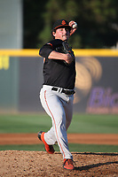 Haydn King (55) of the San Jose Giants pitches against the Rancho Cucamonga Quakes at LoanMart Field on August 22, 2021 in Rancho Cucamonga, California. (Larry Goren/Four Seam Images)