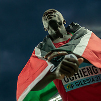 2nd May 2021; Silesian Stadium, Chorzow, Poland; World Athletics Relays 2021. Day 2; Ochieng, Silver medalist for Kenya in the 4 x 200 wrapped in Kenyan flag