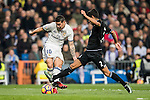 "James Rodriguez of Real Madrid competes for the ball with Juan Francisco Moreno Fuertes ""Juanfran"" of RC Deportivo La Coruna during the La Liga match between Real Madrid and RC Deportivo La Coruna at the Santiago Bernabeu Stadium on 10 December 2016 in Madrid, Spain. Photo by Diego Gonzalez Souto / Power Sport Images"