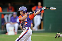 Freshman infielder Grant Cox (3) (Greenville High School) of the Clemson Tigers in a fall practice intra-squad Orange-Purple scrimmage on Sunday, September 27, 2015, at Doug Kingsmore Stadium in Clemson, South Carolina. (Tom Priddy/Four Seam Images)