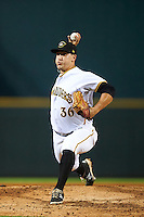 Bradenton Marauders relief pitcher Tate Scioneaux (36) during a game against the Palm Beach Cardinals on August 9, 2016 at McKechnie Field in Bradenton, Florida.  Palm Beach defeated Bradenton 8-7.  (Mike Janes/Four Seam Images)