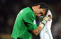Essam El Hadary of Egypt dabs his head wound with a towel. USA defeated Egypt 3-0 during the FIFA Confederations Cup at Royal Bafokeng Stadium in Rustenberg, South Africa on June 21, 2009.