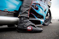 Aug 30, 2019; Clermont, IN, USA; Detailed view of the Simpson racing shoe worn by NHRA pro stock motorcycle rider Jianna Salinas during qualifying for the US Nationals at Lucas Oil Raceway. Mandatory Credit: Mark J. Rebilas-USA TODAY Sports