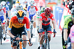 Red Jersey Richarad Carapaz (ECU) Ineos Grenadiers crosses the finish line at the end of Stage 10 of the Vuelta Espana 2020 running 187.4km from Castro Urdiales to Suances, Spain. 30th October 2020.    <br /> Picture: Luis Angel Gomez/PhotoSportGomez | Cyclefile<br /> <br /> All photos usage must carry mandatory copyright credit (© Cyclefile | Luis Angel Gomez/PhotoSportGomez)