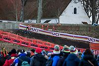 Mathieu Van der Poel (NED) forcing the pace<br /> <br /> Men's Elite race <br /> <br /> UCI 2019 Cyclocross World Championships<br /> Bogense / Denmark<br /> <br /> <br /> ©kramon