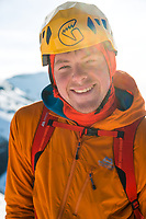 Portrait of Uisdean Hawthorn on the Cuillin Ridge, Isle of Skye, Scotland.<br /> On Monday 26th of February 24 Year old Scot Uisdean Hawthorn set a new record for a winter traverse of Skye's iconic Cuillin Ridge with his time of 4 hours, 57 minutes and 7 seconds knocking more than an hour and a quarter off the previous quickest ascent.