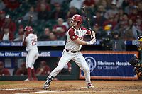 Matt Goodheart (10) of the Arkansas Razorbacks at bat against the Baylor Bears in game nine of the 2020 Shriners Hospitals for Children College Classic at Minute Maid Park on March 1, 2020 in Houston, Texas. The Bears defeated the Razorbacks 3-2. (Brian Westerholt/Four Seam Images)