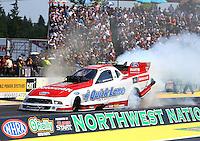 Aug. 3, 2014; Kent, WA, USA; NHRA funny car driver Bob Tasca III during the Northwest Nationals at Pacific Raceways. Mandatory Credit: Mark J. Rebilas-