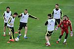 Spanish National Team's  training at Ciudad del Futbol stadium in Las Rozas, Madrid, Spain. In the pic: Bernat Velasco, Miguel Jimenmez, Mario Suarez, Morata, Sergio Ramos and De Gea. March 25, 2015. (ALTERPHOTOS/Luis Fernandez)