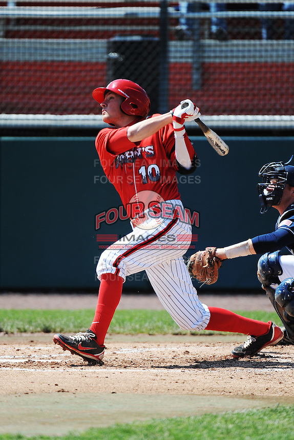 St. John's University Redstorm infielder Kyle Lombardo (10) during game against the University of Notre Dame Fighting Irish at Jack Kaiser Stadium on May 12, 2013 in Queens, New York. St. John's defeated Notre Dame 2-1.      . (Tomasso DeRosa/ Four Seam Images)