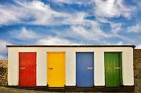 Colored doors. Inishfree Pier, Ennicrone, Ireland
