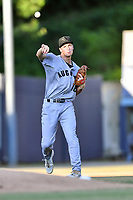 Augusta GreenJackets third baseman Jacob Gonzalez (18) throws to first base during a game against the Asheville Tourists at McCormick Field on June 15, 2018 in Asheville, North Carolina. The Tourists defeated the GreenJackets 6-5. (Tony Farlow/Four Seam Images)