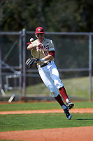 Boston College Eagles third baseman Anthony Maselli (15) during practice before a game against the Central Michigan Chippewas on March 3, 2017 at North Charlotte Regional Park in Port Charlotte, Florida.  Boston College defeated Central Michigan 5-4.  (Mike Janes/Four Seam Images)