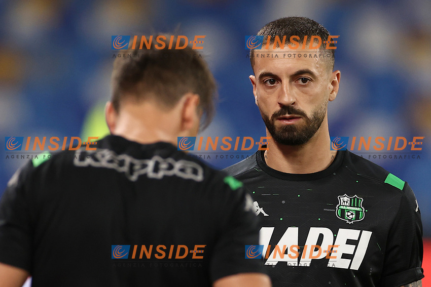 Francesco Caputo US Sassuolo prior to the Serie A football match between SSC  Napoli and US Sassuolo at stadio San Paolo in Naples ( Italy ), July 25th, 2020. Play resumes behind closed doors following the outbreak of the coronavirus disease. <br /> Photo Cesare Purini / Insidefoto