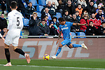 Getafe CF's Damian Suarez and Valencia CF's Gabriel Armando de Abreu Paulista during La Liga match between Getafe CF and Valencia CF at Coliseum Alfonso Perez in Getafe, Spain. November 10, 2018.