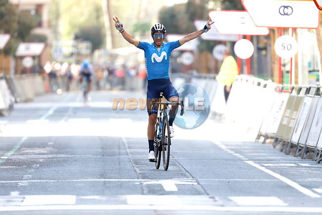 Alejandro Valverde (ESP) Movistar Team wins the Gran Premio Miguel Indurain 2021, running 203.2km from Estella to Lizarra, Spain. 3rd April 2021.  <br /> Picture: Luis Angel Gomez/Photogomezsport | Cyclefile<br /> <br /> All photos usage must carry mandatory copyright credit (© Cyclefile | Luis Angel Gomez/Photogomezsport)