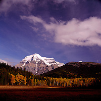 Mt Robson (3,954 m / 12,972 ft) in Mount Robson Provincial Park, in the Canadian Rockies and Thompson Okanagan Region of British Columbia, Canada, in Autumn
