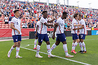 SANDY, UT - JUNE 10: Brenden Aaronson #11of the United States scores a goal and celebrates during a game between Costa Rica and USMNT at Rio Tinto Stadium on June 10, 2021 in Sandy, Utah.