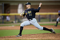 West Virginia Black Bears relief pitcher Blake Weiman (34) delivers a pitch during a game against the Batavia Muckdogs on August 5, 2017 at Dwyer Stadium in Batavia, New York.  Batavia defeated Williamsport 3-2.  (Mike Janes/Four Seam Images)