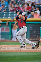 Kyle Jensen (26) of the Sacramento River Cats bats against the Salt Lake Bees at Smith's Ballpark on May 17, 2018 in Salt Lake City, Utah. Salt Lake defeated Sacramento 12-11. (Stephen Smith/Four Seam Images)