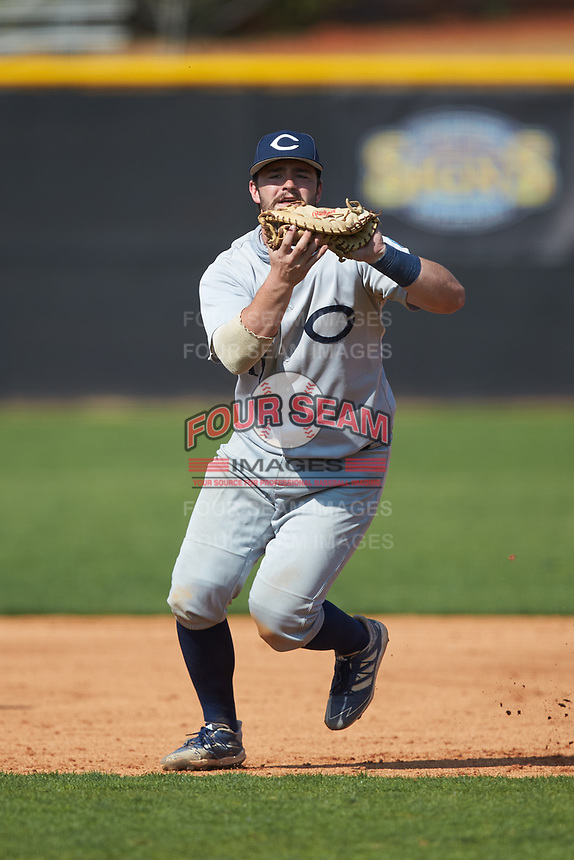 Catawba Indians first baseman Cameron Morrison (11) catches a line drive during game two of a double-header against the Queens Royals at Tuckaseegee Dream Fields on March 26, 2021 in Kannapolis, North Carolina. (Brian Westerholt/Four Seam Images)