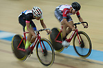 Mow Ching Yin (L) of the CMS and Leung Chun Wing (R)  of the SCAA competes in the Men Elite - Omnium IV Points Race 25KM category during the Hong Kong Track Cycling National Championships 2017 at the Hong Kong Velodrome on 18 March 2017 in Hong Kong, China. Photo by Chris Wong / Power Sport Images