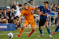 SAN JOSE, CA - JULY 24: Matias Vera #22 of the Houston Dynamo is challenged by Shea Salinas #6 of the San Jose Earthquakes during a game between San Jose Earthquakes and Houston Dynamo at PayPal Park on July 24, 2021 in San Jose, California.