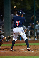 AZL Indians Red Jothson Flores (9) at bat during an Arizona League game against the AZL Padres 1 on June 23, 2019 at the Cleveland Indians Training Complex in Goodyear, Arizona. AZL Indians Red defeated the AZL Padres 1 3-2. (Zachary Lucy/Four Seam Images)