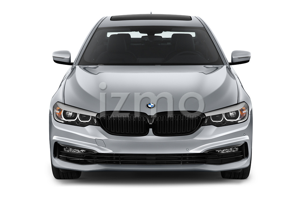 Car photography straight front view of a 2018 BMW 5 Series 540i Sport Line 4 Door Sedan