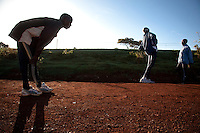 A runner cools down after morning training in Iten, Kenya