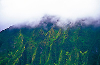 Koolau mountain range in the misty white clouds, island of Oahu