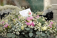 """COPY BY TOM BEDFORD<br /> Pictured: A floral tribute at the Jerusalem Baptist Chapel, Merthyr Tydfil, Wales, UK. Friday 18 August 2017<br /> Re: The funeral of a toddler who died after a parked Range Rover's brakes failed and it hit a garden wall which fell on top of her will be held today at Jerusalem Baptist Chapel in Merthyr Tydfil.<br /> One year old Pearl Melody Black and her eight-month-old brother were taken to hospital after the incident in south Wales.<br /> Pearl's family, father Paul who is The Voice contestant and mum Gemma have said she was """"as bright as the stars""""."""