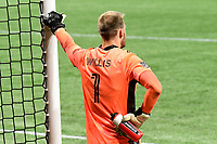 ATLANTA, GA - AUGUST 22: Joe Willis #1 takes a breather during a break in play during a game between Nashville SC and Atlanta United FC at Mercedes-Benz Stadium on August 22, 2020 in Atlanta, Georgia.