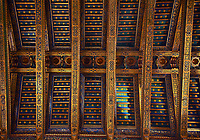 Decorative roof beams of the Norman-Byzantine medieval cathedral  of Monreale,  province of Palermo, Sicily, Italy.