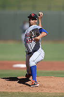 Scottsdale Scorpions pitcher Hansel Robles (45), of the New York Mets organization, during an Arizona Fall League game against the Surprise Saguaros on October 17, 2013 at Surprise Stadium in Surprise, Arizona.  Surprise defeated Scottsdale 10-5.  (Mike Janes/Four Seam Images)