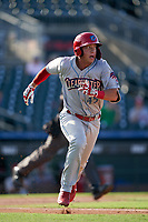 Clearwater Threshers Matt Kroon (45) runs to first base during a Florida State League game against the Palm Beach Cardinals on August 10, 2019 at Roger Dean Chevrolet Stadium in Jupiter, Florida.  Clearwater defeated Palm Beach 11-4.  (Mike Janes/Four Seam Images)