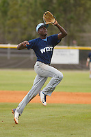West Columbus Vikings player Eric Jenkins (5) fielding during a game against the Upper Room Christian Royals on the campus of West Brunswick High School on April 7, 2015 in Shallotte, North Carolina. West Columbus defeated Upper Room Christian 13-0. (Robert Gurganus/Four Seam Images)