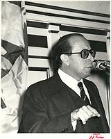 a la tribune de la chambre de commerce de Montreal, le 6 fevrier 1979<br /> <br /> PHOTO : Agence Quebec Presse