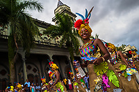 Afro-Colombian dancers of the La Yesquita neighborhood perform during the San Pacho festival in Quibdó, Colombia, 30 September 2019. Every year at the turn of September and October, the capital of the Pacific region of Chocó holds the celebrations in honor of Saint Francis of Assisi (locally named as San Pacho), recognized as Intangible Cultural Heritage by UNESCO. Each day carnival groups, wearing bright colorful costumes and representing each neighborhood, dance throughout the city, supported by brass bands playing live music. The festival culminates in a traditional boat ride on the Atrato River, followed by massive religious processions, which accent the pillars of Afro-Colombian's identity – the Catholic devotion grown from African roots.